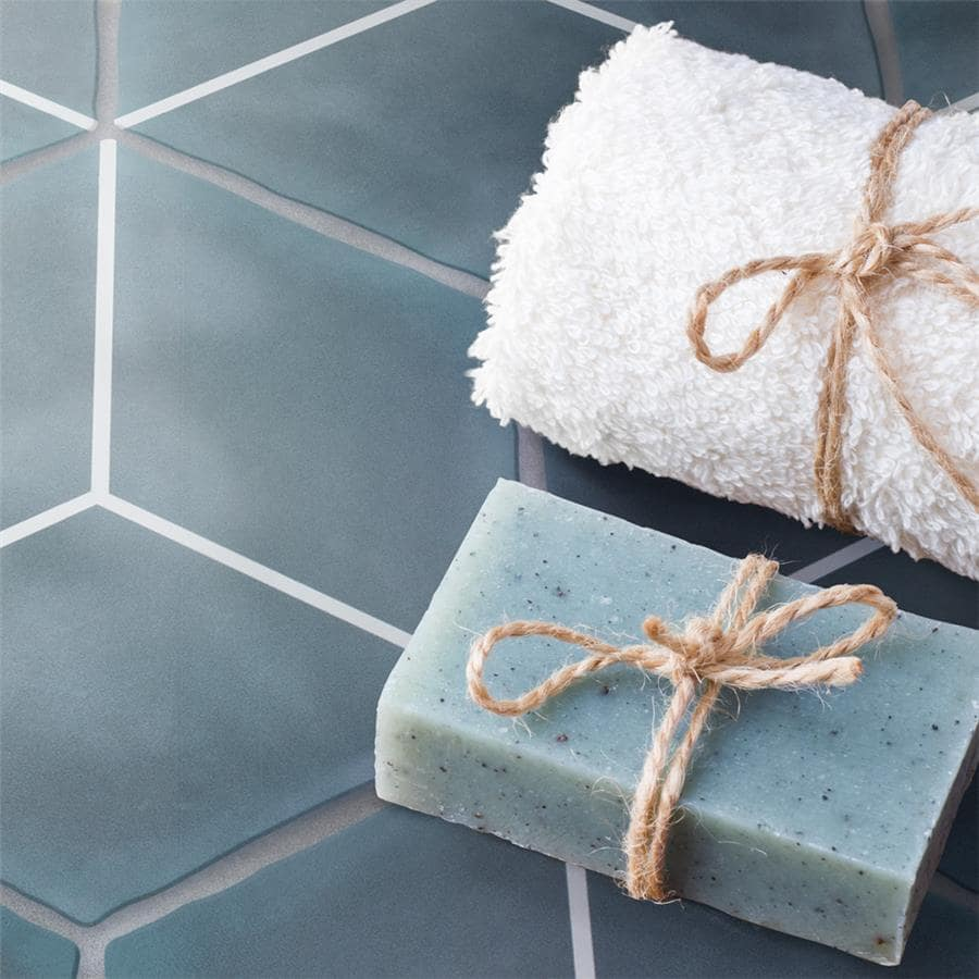 Palm Rombo Hex Blue Porcelain Floor and Wall Tile